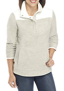Long Sleeve Colorblock Fleece Pullover