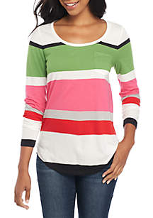 Long Sleeve Pocket Striped Tee