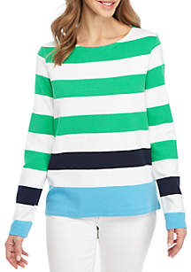 Long Sleeve Stripe Textured Top