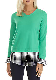 Long Sleeve V-Neck 2Fer Tunic