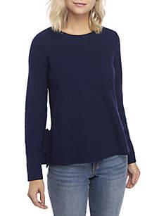 Long Sleeve Ruffle Slit Sweater