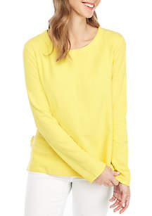 Crown & Ivy™ Long Sleeve Ruffle Slit Sweater
