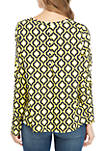 Long Sleeve Button Back Print Swing Top