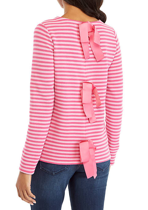 Crown & Ivy™ Long Sleeve Contrast Stripe Bow