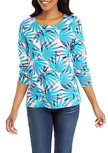 Crown & Ivy™ Long Sleeve Contrast Bow Back Top