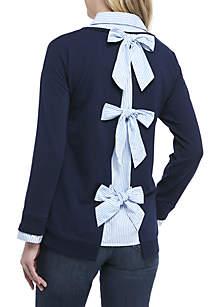 Crown & Ivy™ Long Sleeve 2Fer Tie Back Top