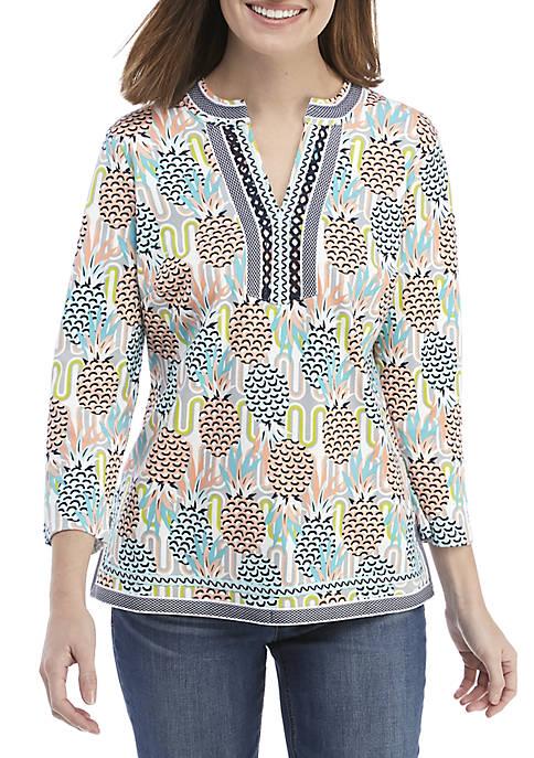 3/4 Sleeve Embroidered Kurta Print Top