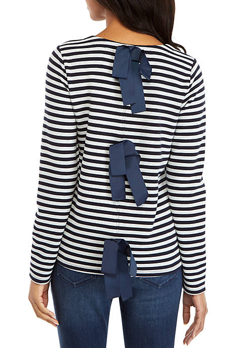 Long Sleeve Contrast Stripe Bow Back Top
