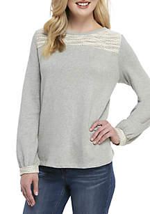 Crown & Ivy™ Long Sleeve Textured Yoke Top