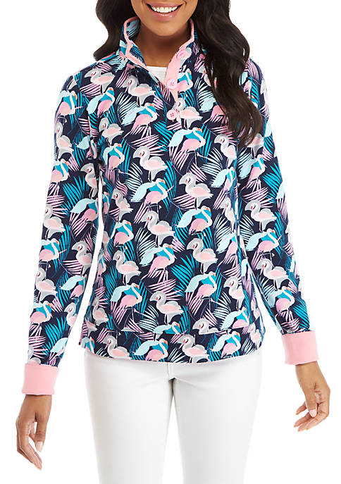 Long Sleeve Print Button Sweatshirt