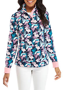 Long Sleeve Print Button Sweatshirt