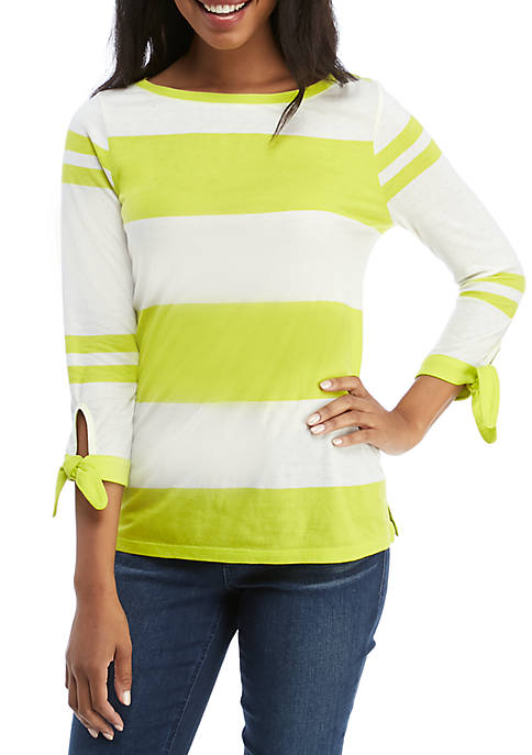 Crown & Ivy™ 3/4 Bow Sleeve Striped Top