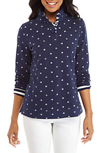 Long Sleeve Button Up Print Sweatshirt