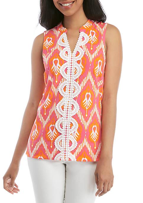 Crown & Ivy™ Sleeveless Crochet Kurta Print Top