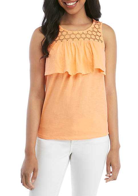 Crown & Ivy™ Sleeveless Crochet Flounce Top