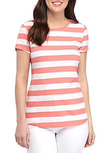 Crown & Ivy™ Short Sleeve Stripe T Shirt