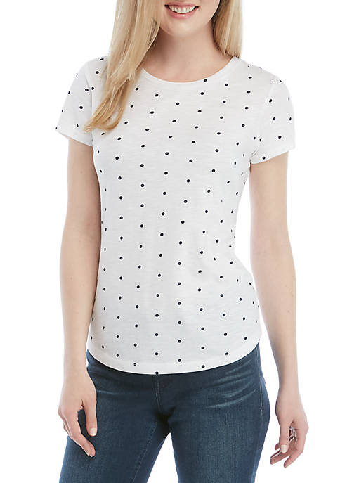 Crown & Ivy™ Short Sleeve Polka Dot T