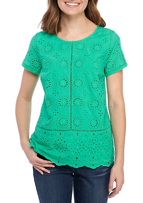Crown & Ivy™ Short Sleeve Eyelet Top