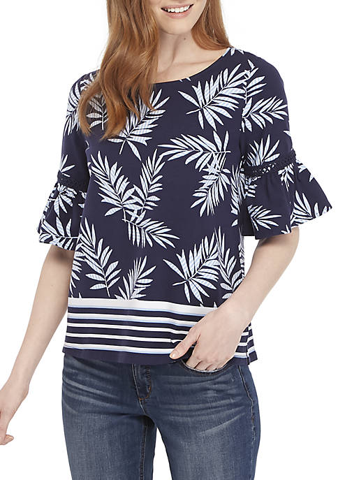 Crown & Ivy™ Elbow Bell Sleeve Printed Top