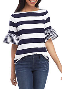 Crown & Ivy™ Elbow Bell Sleeve Boat Neck Top