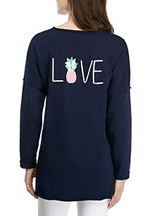 Crown & Ivy™ Raw Edge Sweater Print Top