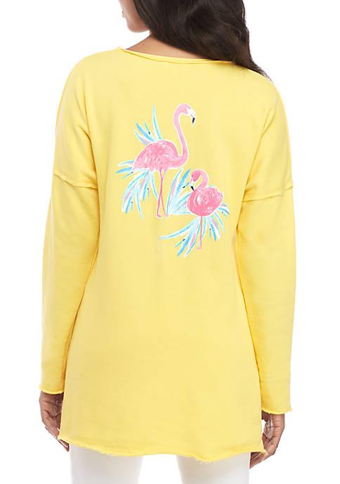 Crown & Ivy™ Raw Edge Flamingo Sweatshirt