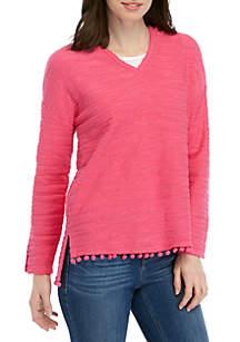 Crown & Ivy™ Long Sleeve Pom Trim Sweatshirt