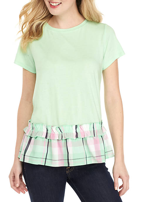 Crown & Ivy™ Short Sleeve Tie Back Ruffle