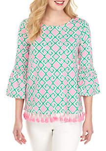 Crown & Ivy™ 3/4 Bell Sleeve Tassel Hem Top