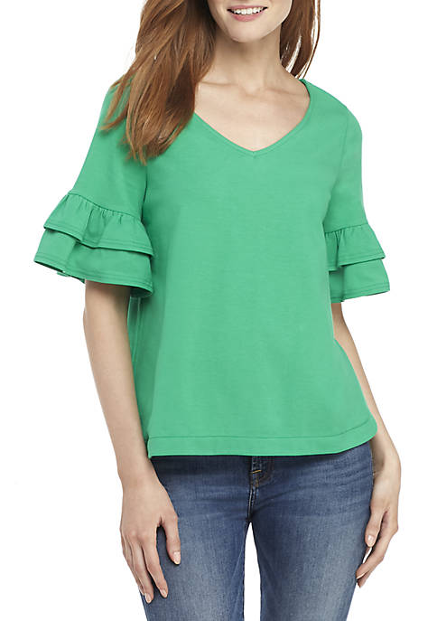 Crown & Ivy™ Ruffle Sleeve V Neck Top