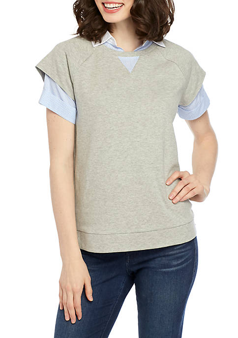 Crown & Ivy™ Short Sleeve Heather 2Fer Top