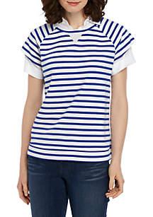 Crown & Ivy™ Short Sleeve 2Fer Top