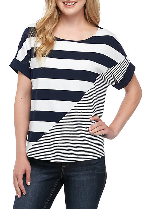 Crown & Ivy™ Short Sleeve Blocked Stripe Tee