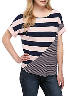 Crown & Ivy™ Short Sleeve Blocked Stripe Tee