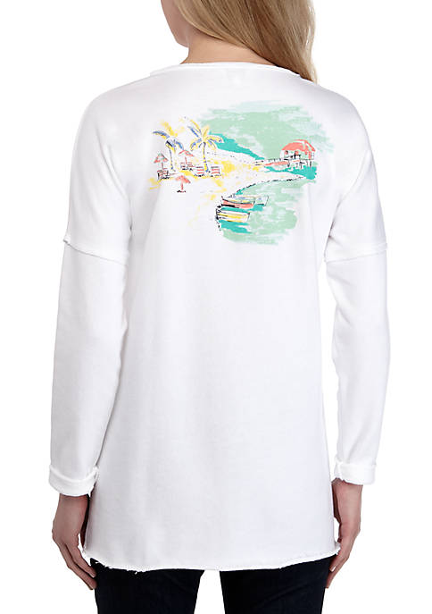 Crown & Ivy™ Raw Edge Pullover Sweatshirt