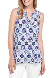 Crown & Ivy™ Sleeveless Y Neck Printed Top