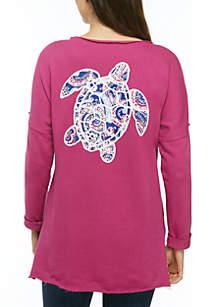 Crown & Ivy™ Raw Edge Turtle Sweatshirt