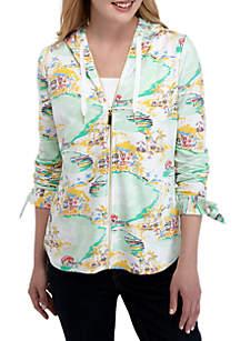 Crown & Ivy™ Long Sleeve Printed Zip Hoodie
