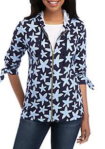 Crown & Ivy™ Long Sleeve Zip Printed Hoodie