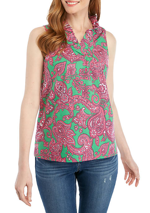 Crown & Ivy™ Sleeveless Ruffle Neck Printed Top