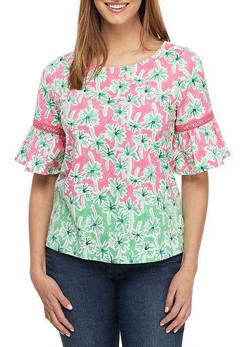 Crown & Ivy™ Bell Sleeve Print Top