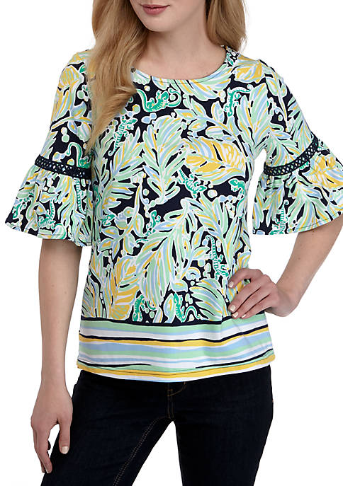Crown & Ivy™ Bell Sleeve Printed Top