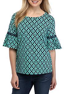 Crown & Ivy™ Elbow Bell Sleeve Printed Top