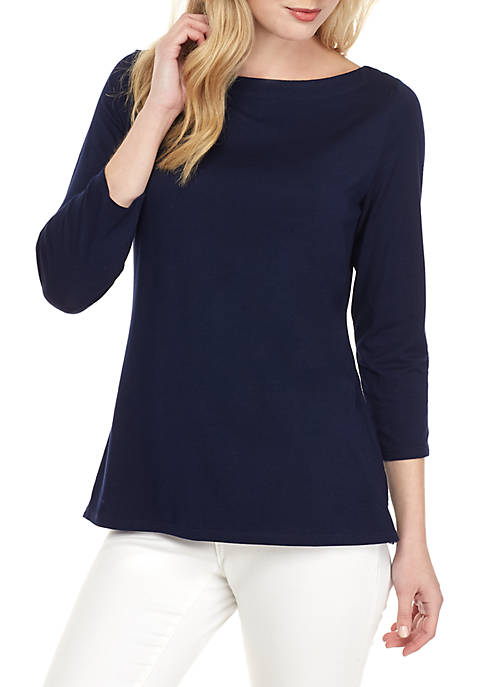 Crown & Ivy™ 3/4 Sleeve Boat Neck Top