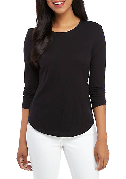 Crown & Ivy™ 3/4 Sleeve Round Neck Top