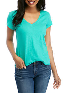 Crown & Ivy™ Short Sleeve Relaxed Fit V Neck Tee
