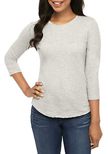 Crown & Ivy™ 3/4 Sleeve Everyday Fit Crew Neck T Shirt