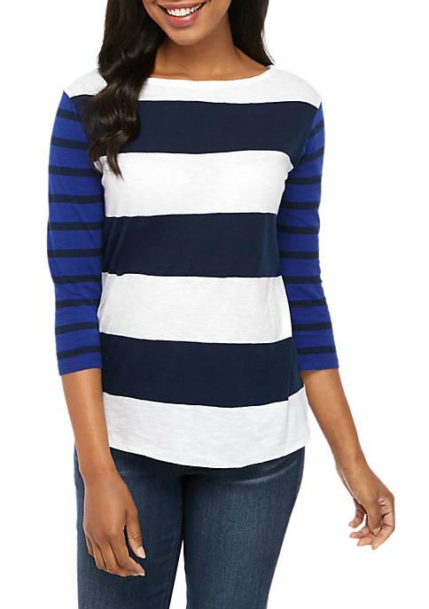 Crown & Ivy™ Stripe Boat Neck T Shirt