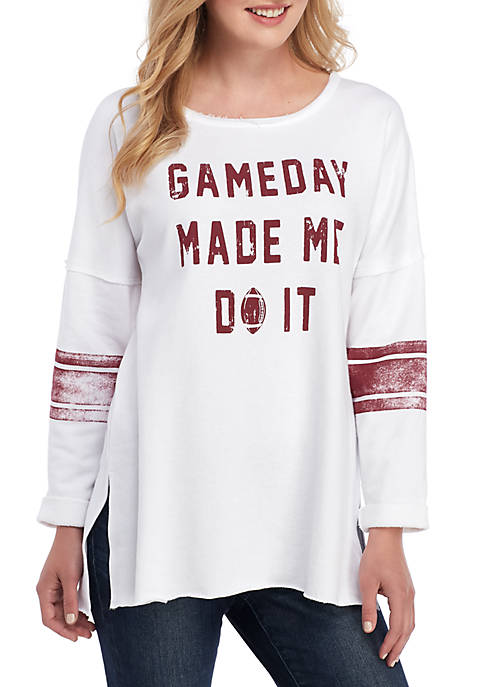 Crown & Ivy™ Raw Edge Game Day Sweatshirt