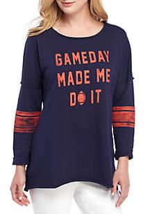 Crown & Ivy™ Raw Edge Game Day Sweatshirt